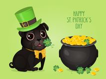 Saint Patricks Day сard with a cute black pug in Leprechaun hat and pot of gold. Cartoon sweet dog with clover. Vector illustration with text `Happy St Vector Illustration