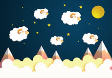Cartoon Sweet Dreams with Sheep, Moon and Stars on sky.paper art Stock Photos