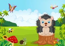 Cartoon sweet hedgehog in the jung Stock Photography