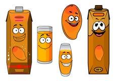 Cartoon sweet mango fruit and juice Stock Images