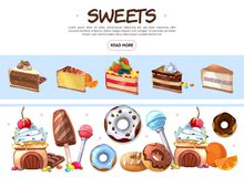 Cartoon Sweet Products Collection vector illustration