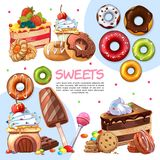 Cartoon Sweet Products Template Stock Photos