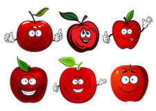 Cartoon sweet red apple fruit characters Stock Images