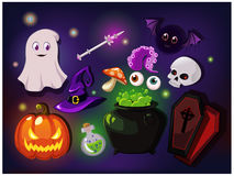 Cartoon sweet  set. Cartoon fantasy magic icons for computer game. Witchcraft objects, gaming objects for app. Vector illustration Royalty Free Stock Photography