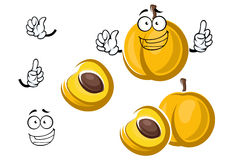 Cartoon sweet yellow apricot fruit character Royalty Free Stock Image