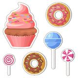 Cartoon Sweets Vector Stickers or Icons Set. Cartoon sweets stickers or icons set. Colorful lollipop candy on stick and glazed donuts flat vector isolated on Royalty Free Stock Images