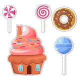 Cartoon Sweets Vector Stickers or Icons Set. Cartoon sweets stickers or icons set. Colorful lollipop candy on stick and glazed donut flat vector isolated on Stock Photos
