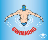 Cartoon swimmer Royalty Free Stock Images