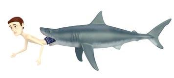 Cartoon swimmer with shark Royalty Free Stock Photos