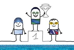 Cartoon Swimming Champion Boy on Podium with Cup. Collage Royalty Free Stock Photo