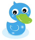 Cute little blue rubber duck Stock Image