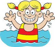 Cartoon swimming girl Royalty Free Stock Photography