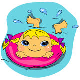 Cartoon swimming girl in sea.summer beach vacation Stock Photography