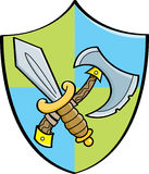 Cartoon sword and axe on a shield Stock Images