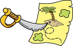 Cartoon sword pointing at a treasure map. Royalty Free Stock Image