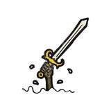 Cartoon sword rising from water Royalty Free Stock Images