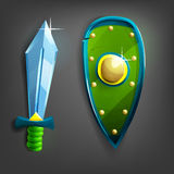 Cartoon sword and shield. Vector illustration Royalty Free Stock Image