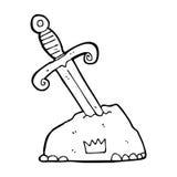 Cartoon sword in stone Stock Photography