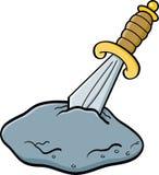 Cartoon sword in a stone Stock Image