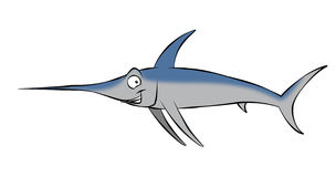 Cartoon Swordfish. A smiling, cartoon swordfish swimming along in the ocean, or maybe mounted on the wall Royalty Free Stock Photo