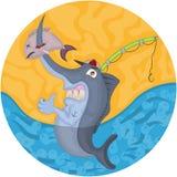 Cartoon swordfish illustration Royalty Free Stock Images