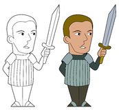 Cartoon swordsman Stock Photos