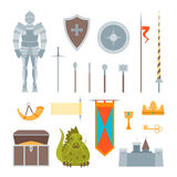 Cartoon Symbol Of Mediaeval Color Icons Set. Vector. Cartoon Symbol Of Mediaeval Color Icons Set Fairytale or Fantasy Concept Flat Style Design. Vector Stock Photography
