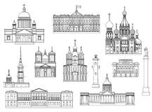 St. Petersburg famous landmarks. Cartoon symbols and objects set of St. Petersburg. Popular tourist architectural objects: Winter Palace, Palace bridge Royalty Free Stock Photo