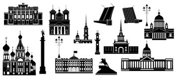 St. Petersburg famous landmarks. Cartoon symbols and objects set of St. Petersburg. Popular tourist architectural objects: Winter Palace, Palace bridge Royalty Free Stock Photos