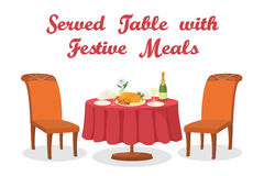 Cartoon Table with Meal,. Festive Meals on Served Table, Holiday Food, Thanksgiving Roasted Turkey, Bottle of Champagne, Glasses, Napkins, Plates, Two Chairs Royalty Free Stock Photos