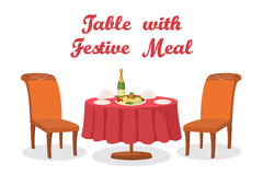 Cartoon Table with Meal, Isolated Royalty Free Stock Photos