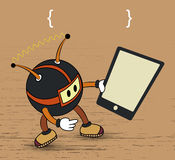 Cartoon with tablet vector Stock Photography