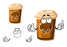 Cartoon takeaway coffee cup with lid. Cartoon brown takeaway coffee cup character with lid, decorated by coffee beans. For coffee shop or fast food menu stock illustration