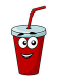 Cartoon takeaway soda drink. In a covered cup with a straw with a happy smiling face isolated on white royalty free illustration