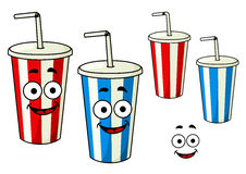 Cartoon takeaway soda striped cups Stock Photo
