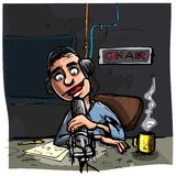 Cartoon Talk radio presenter. Dark studio behind royalty free illustration