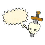 Cartoon talking skull with sword Royalty Free Stock Images