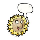 Cartoon talking sunflower Stock Image