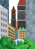 Cartoon tall buildings near green bushes Stock Photos