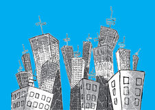 Cartoon tall skyscrapers suburb  background Royalty Free Stock Photo