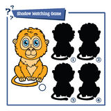 Cartoon tamarin game. Vector illustration of shadow matching game with happy cartoon tamarin for children Royalty Free Stock Photography