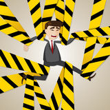Cartoon tangled businessman Royalty Free Stock Images