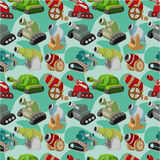Cartoon Tank/Cannon Weapon  seamless pattern. Drawing Royalty Free Stock Images