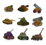 Cartoon Tank/Cannon Weapon set icon. Drawing Stock Photography