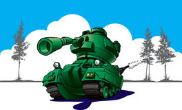 Cartoon Tank In Wargames Royalty Free Stock Photo