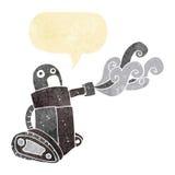 cartoon tank robot with speech bubble Stock Photo