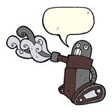 cartoon tank robot with speech bubble Stock Image