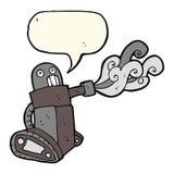 cartoon tank robot with speech bubble Royalty Free Stock Photography