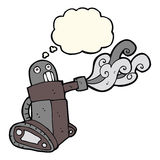 cartoon tank robot with thought bubble Royalty Free Stock Photo