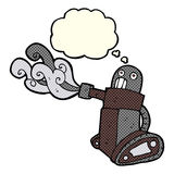 cartoon tank robot with thought bubble Stock Photo